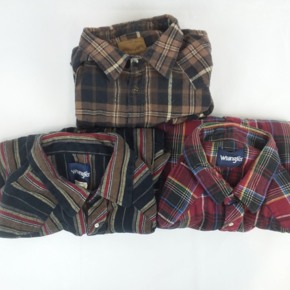 79607d06 Wrangler Shirts | Lot Of 3 Mens Flannel 3xl Pearl Snap | Poshmark